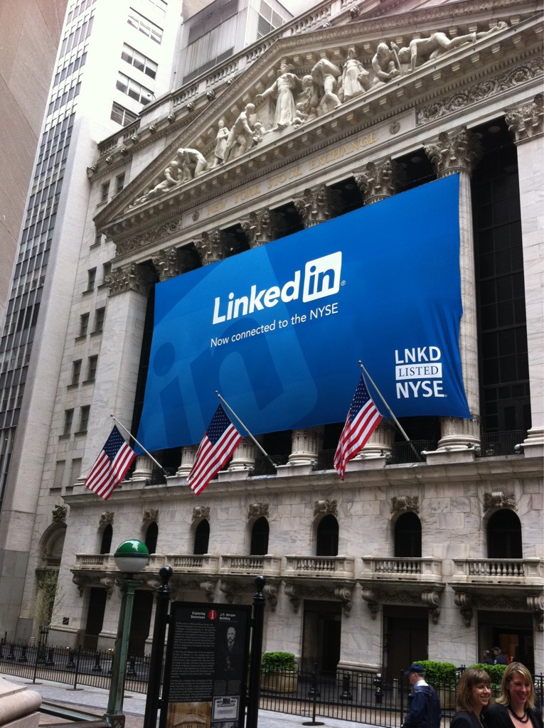 LinkedIn IPOs, sees shares double