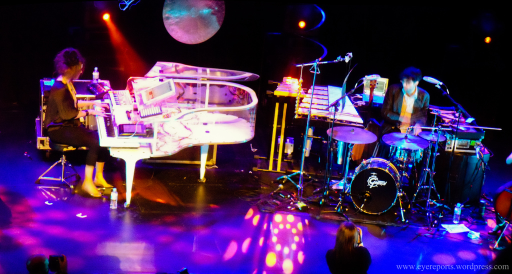 Imogen Heap performing live on stage