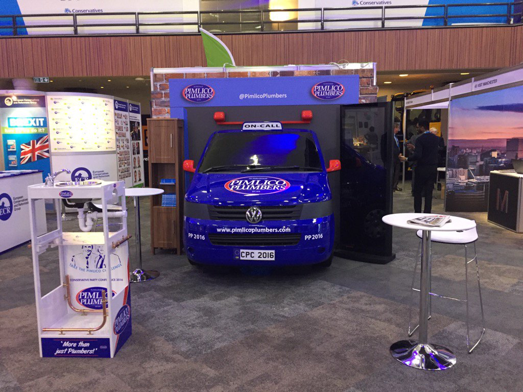 The Pimlico Plumbers stand at the Conservative Party conference