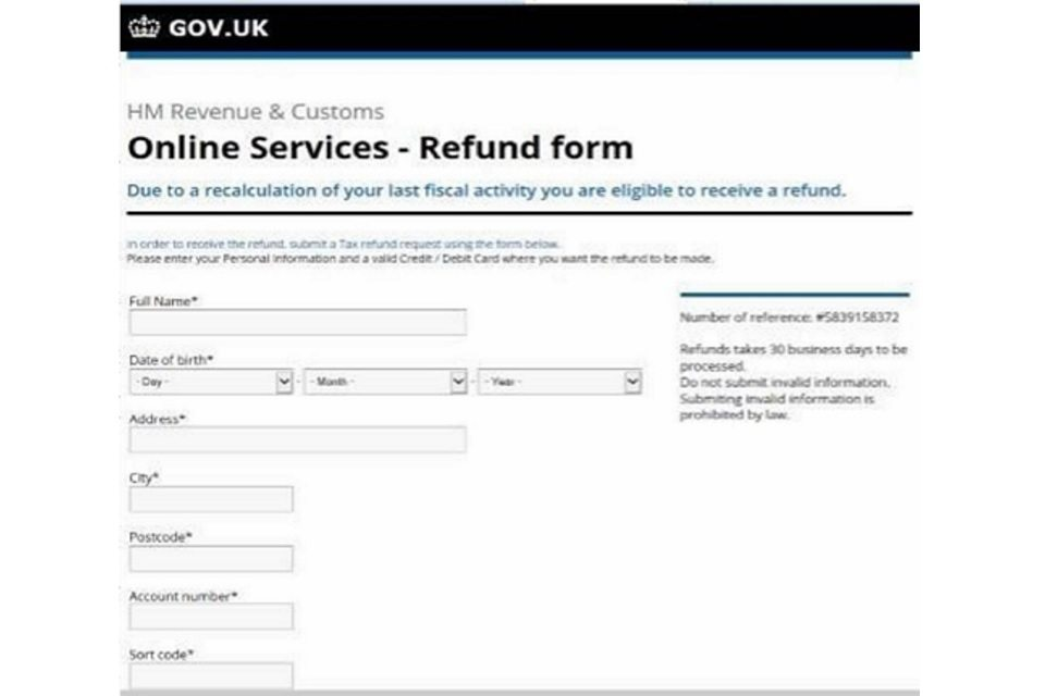 Email correspondence of this kind would never be from HMRC