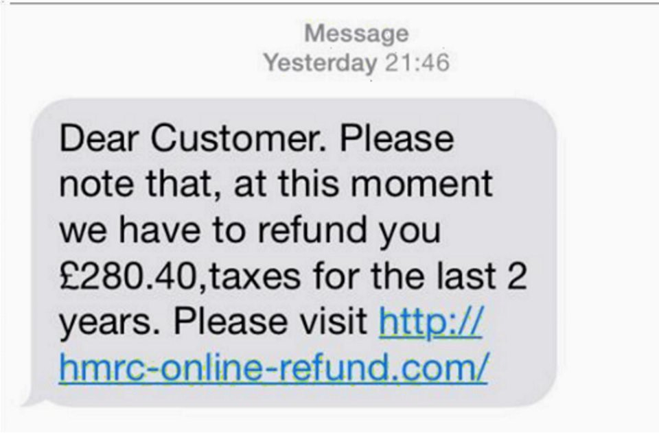 Genuine HMRC texts will never request personal or banking information