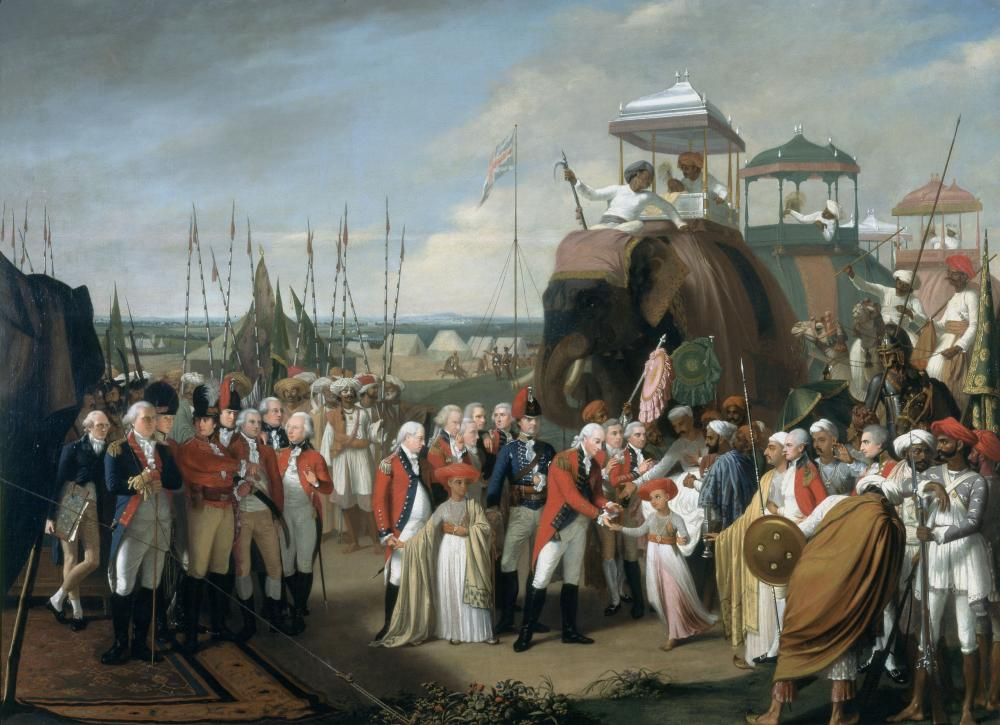 The trade relationship dates back to 1600, between?Tudor England?and?Mughal India,?when?Elizabeth I?granted the newly formed?East India Company?a?royal charter. Image: The Surrender of Tipu Sultan.