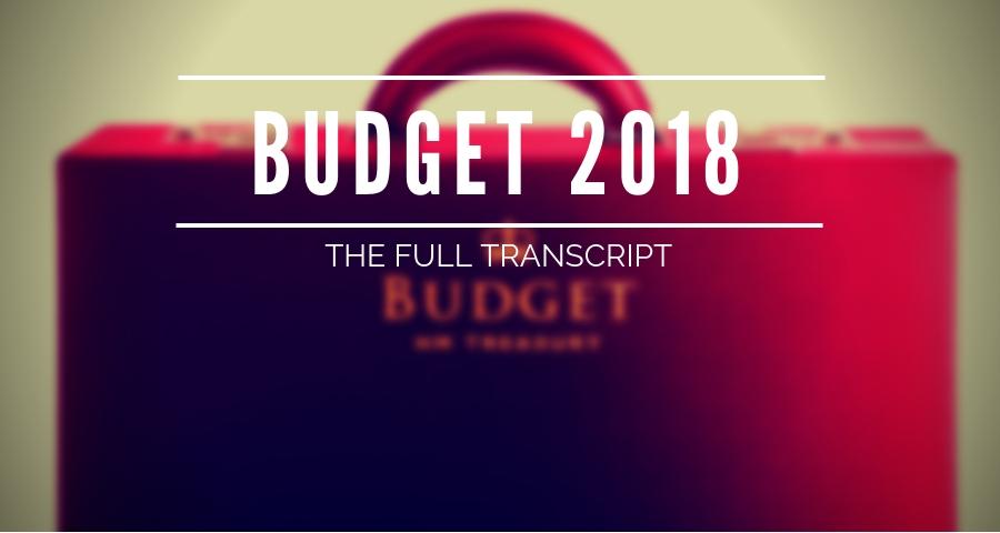 Budget 2018 speech in full