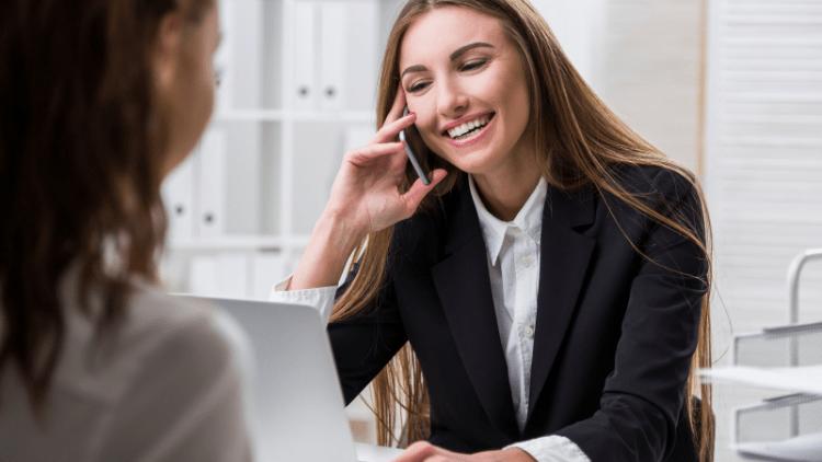 HR employee on phone
